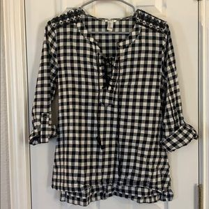 Buffalo Plaid Top with Embroidered Shoulder
